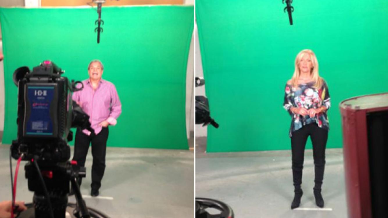 Carlos Monti y Susana Roccasalvo, grabando las promos para el nuevo programa. (Fotos: gentileza Diego Toni)
