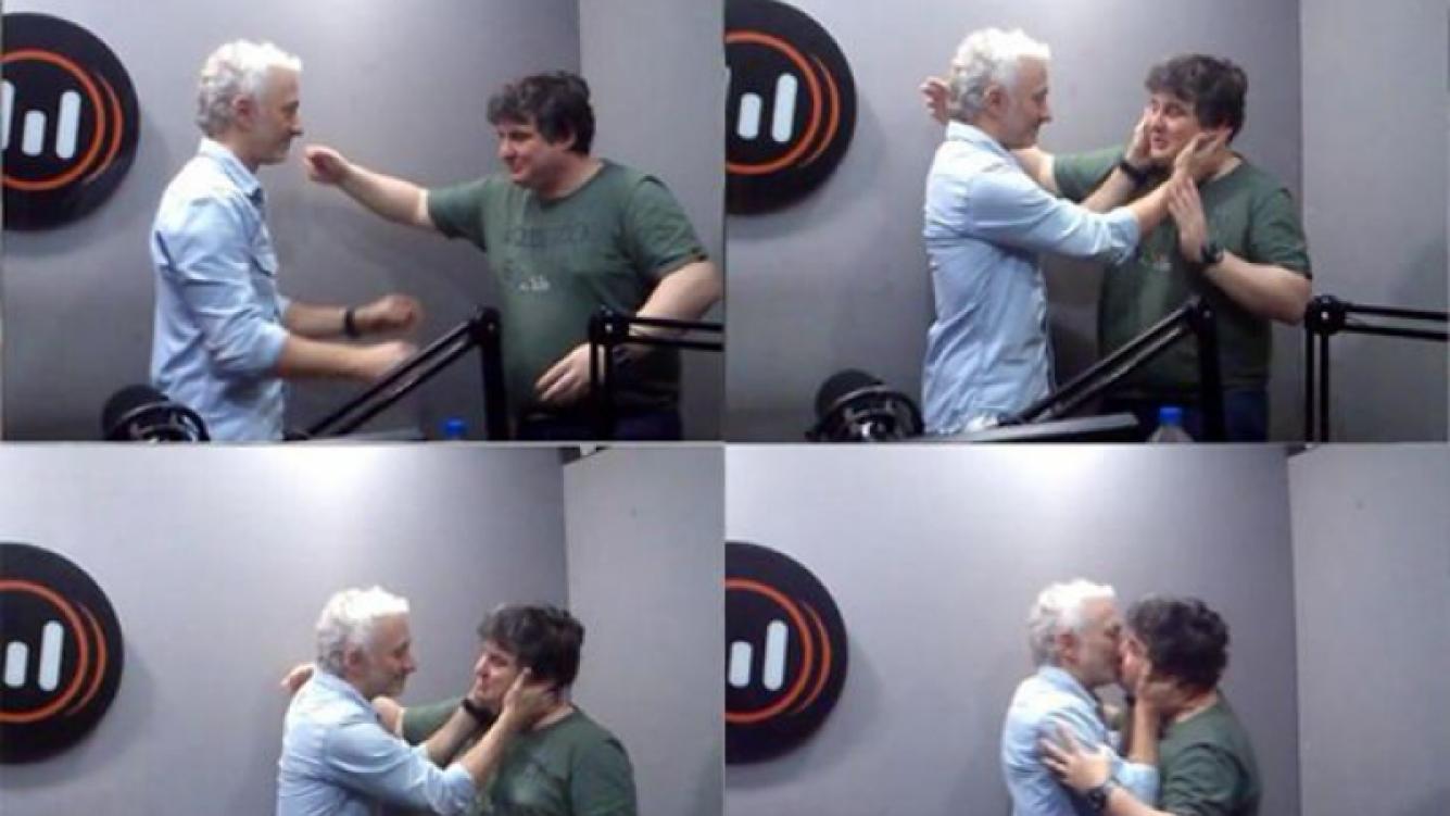 La divertida secuencia del beso de Andy y Schultz (Foto: radio Metro).
