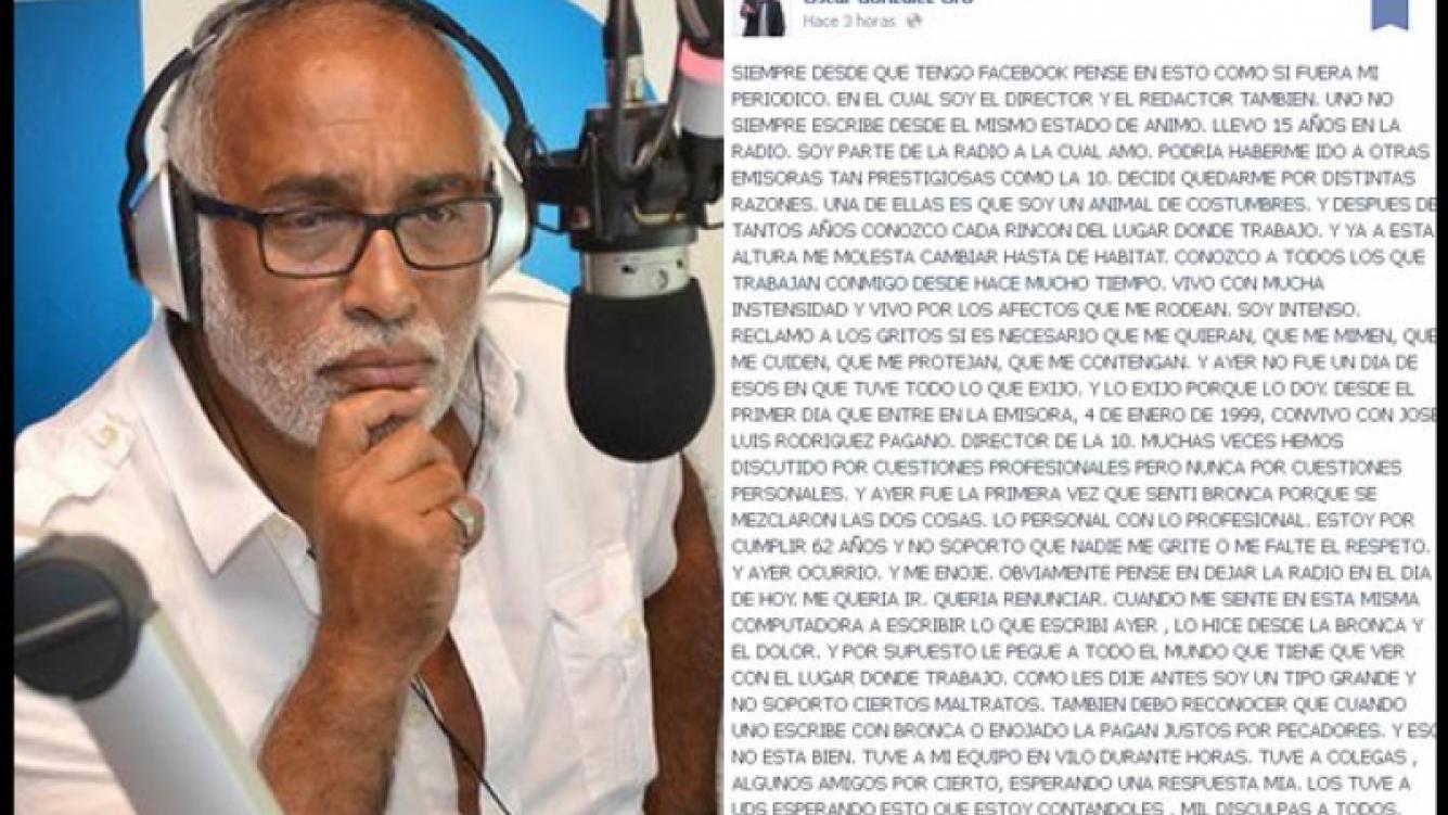 Oscar González Oro sigue en Radio 10. (Foto: Facebook y Web)