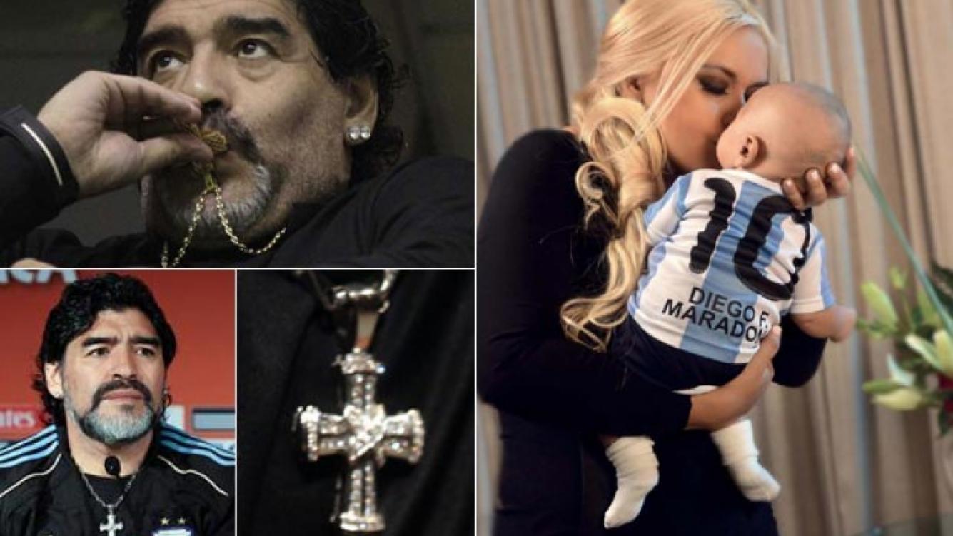 Diego Maradona le regaló una cruz de oro similar a la que usa. Y se la colocó simbólicamente. (Fotos: Web y revista Gente)