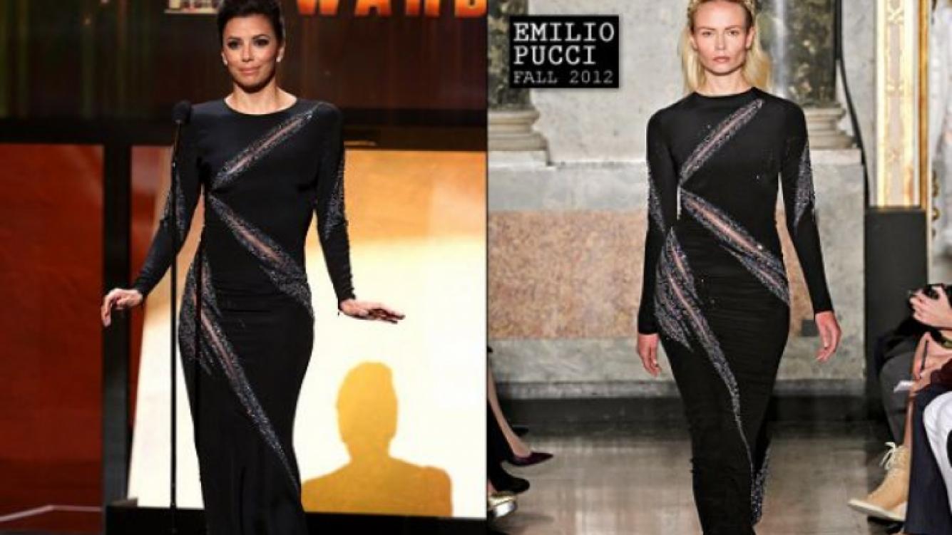 Eva Longoria con el vestido Emilio Pucci y el diseño sobre la pasarela. (Foto: Web)