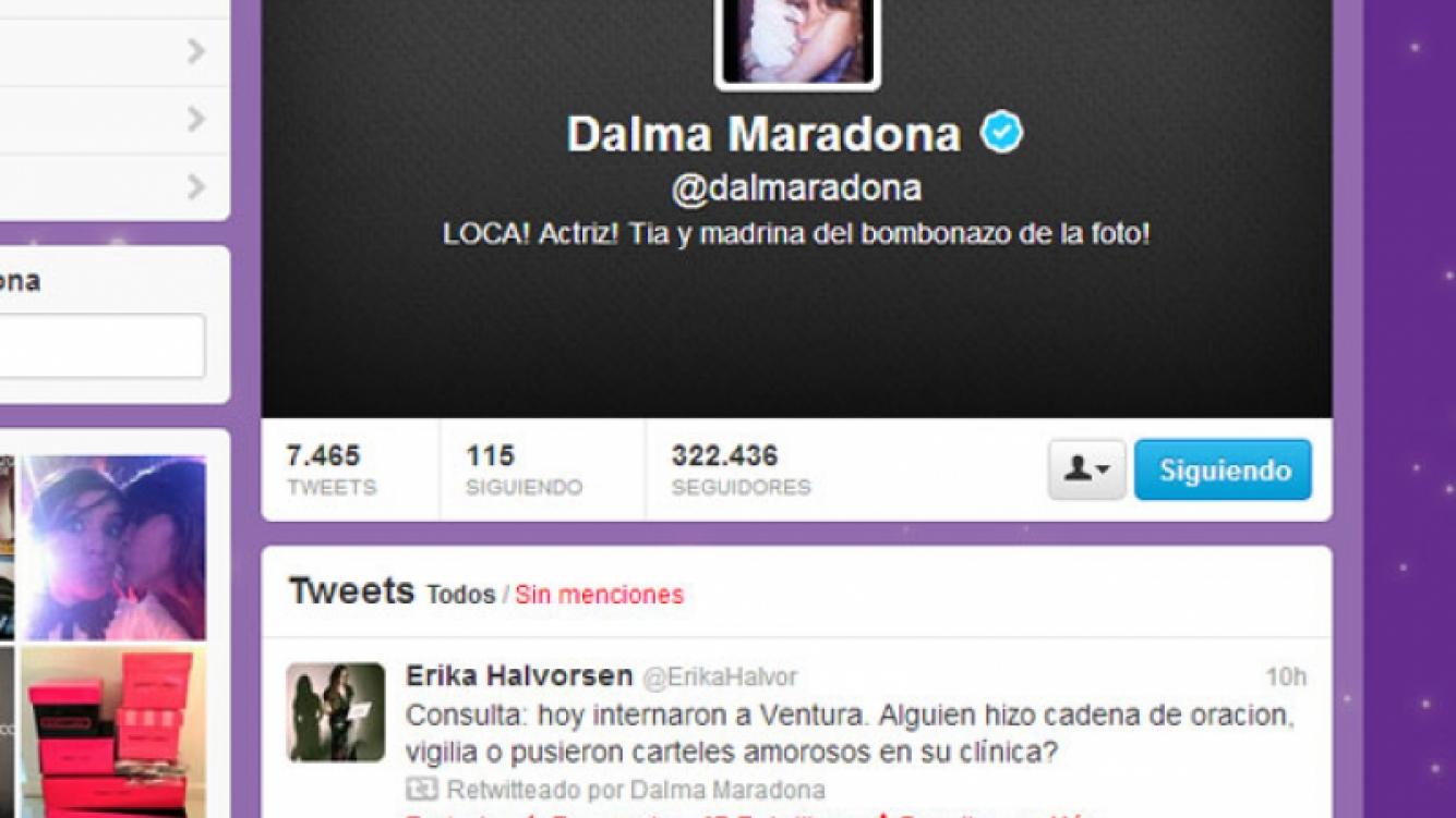 El polémico retweet de Dalma sobre la salud de Ventura (Foto: Captura).