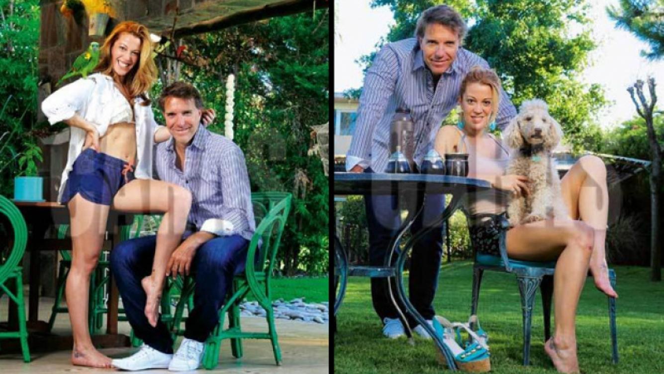 Miriam Lanzoni y Alejandro Fantino, en la intimidad de su casa (Foto: revista Caras).