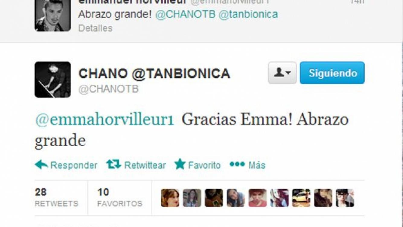 El saludo de Emmanuel a Chano (Foto: Twitter).