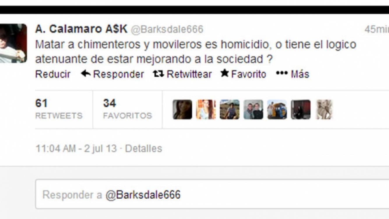 La captura del explosivo tweet de Calamaro (Foto: Captura de pantalla).