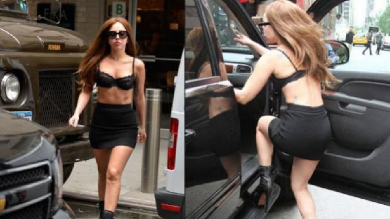 Lady Gaga en corpiño por las calles de Nueva York. (Fotos: Web)