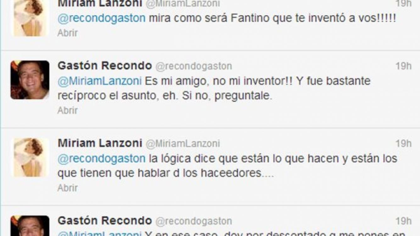 El picante cruce tuitero de Miriam Lanzoni y Gastón Recondo (Foto: captura de Twitter).