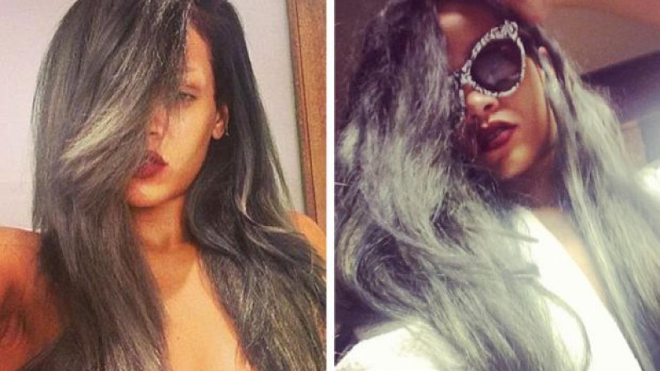 Rihanna se tiñó mechones canosos. (Fotos: Web)