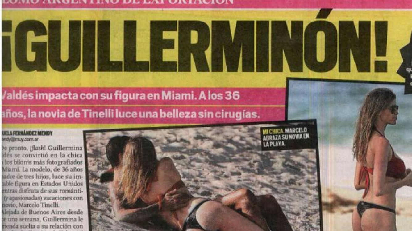 Marcelo Tinelli y Guillermina Valdés, enamorados en Miami (Foto: captura diario Muy).