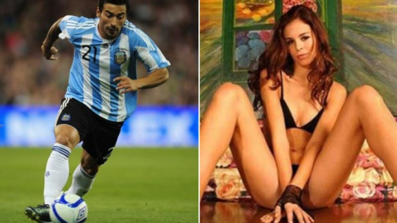 El Pocho Lavezzi, con la camiseta de la Selección Argentina; y Yanina Screpante, su pareja. (Fotos: archivo Web)