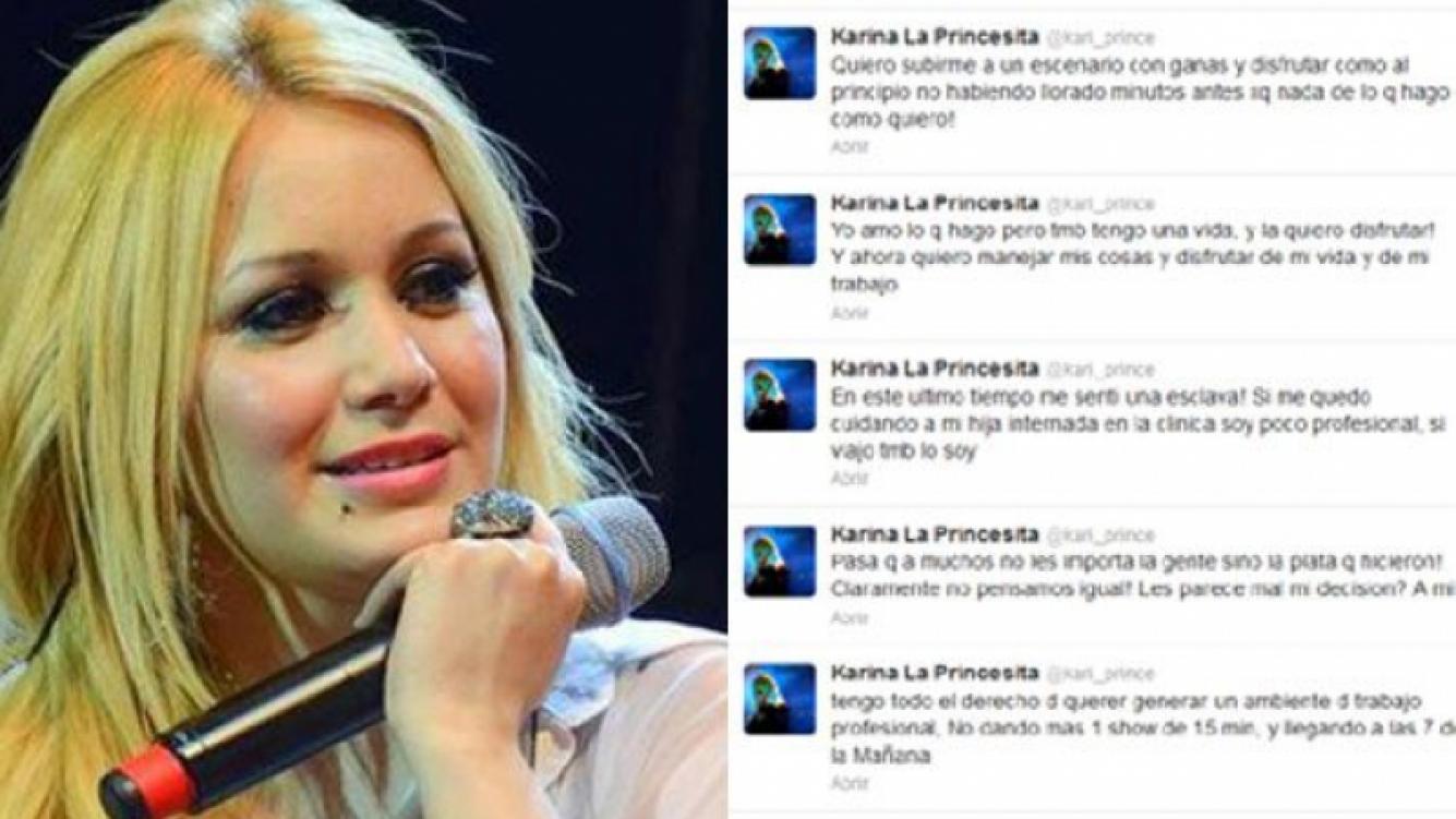 La Princesita Karina y su catarata de tweets. (Fotos: Web y Twitter @kari_prince)