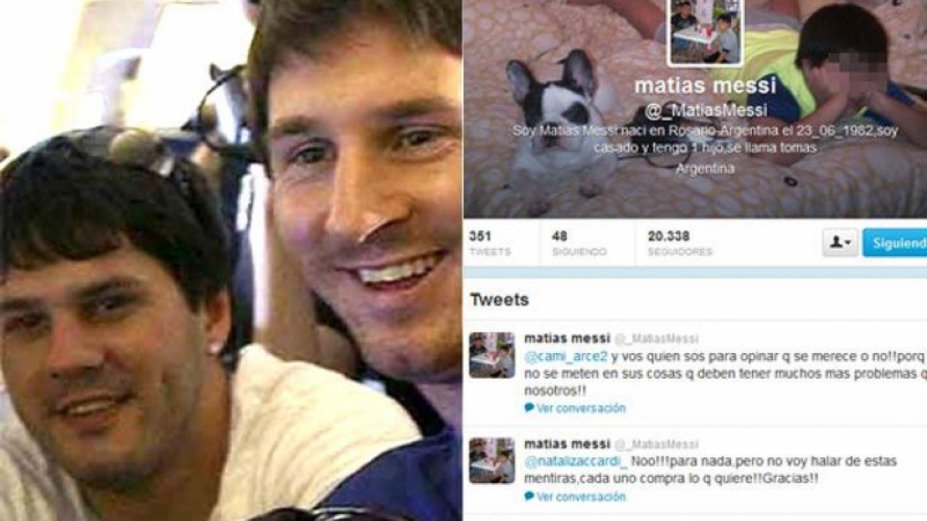 IZQ: Matías Messi, con su hermano Lionel. DER: El Twitter de Matías Messi. (Fotos: Web y @_MatiasMessi)
