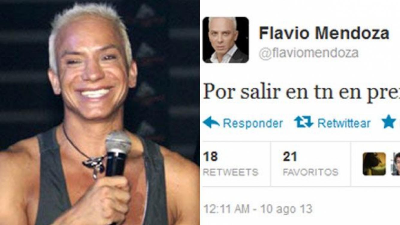 El blooper tuitero de Flavio Mendoza. (Fotos: Web y Twitter)