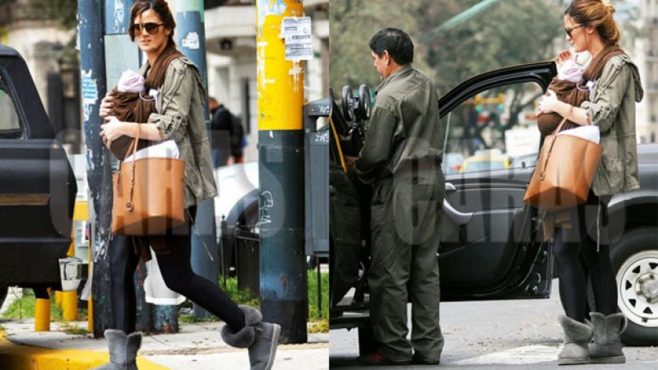 Paula Chaves salió a pasear con su hija Olivia (Foto: Revista Caras).
