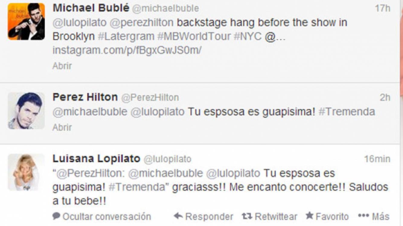 El simpático intercambio de tweets entre Luisana, Michael y Perez (Foto: Captura).