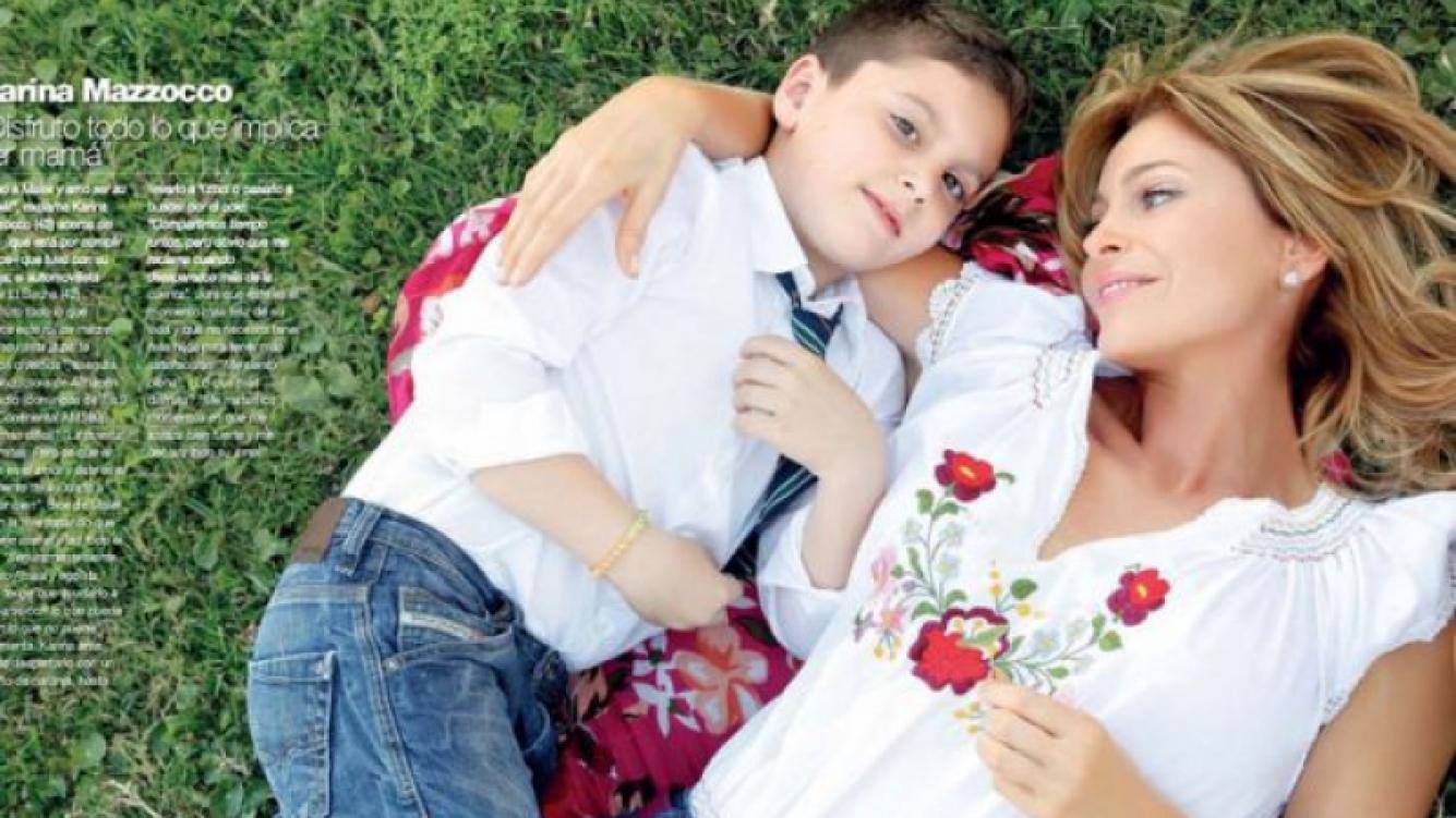 Karina Mazzocco y su hijo Malek: (Foto: revista Gente)