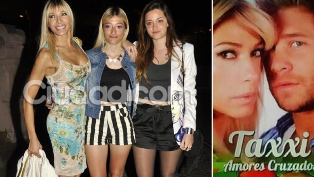 Catherine Fulop (48), con Tiziana (14) y Oriana (17). Der: con Nico Riera (28).