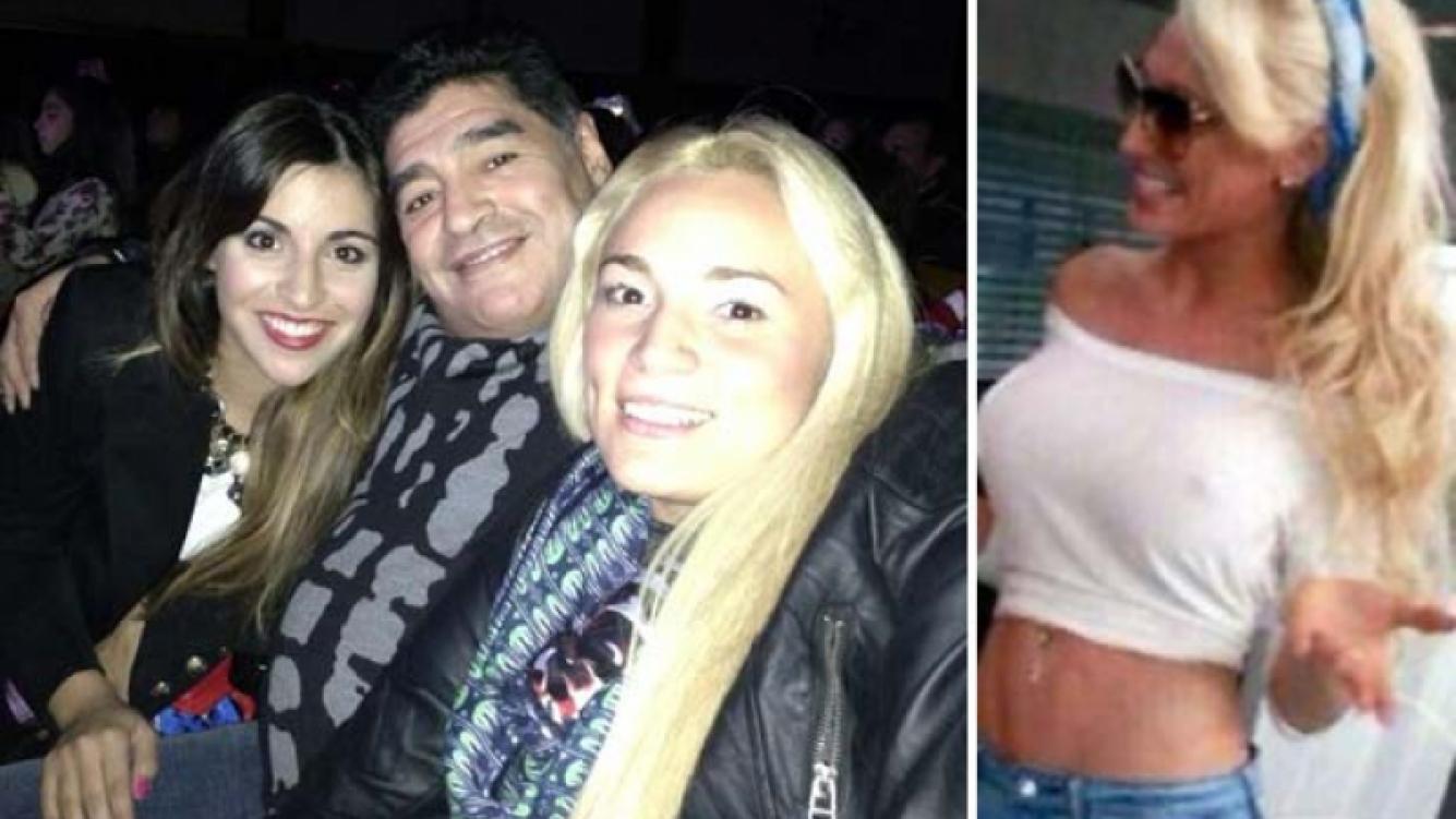 Gianinna Maradona, Diego Maradona y Rocío Oliva, y Vicky Xipolitakis. (Fotos: Twitter)