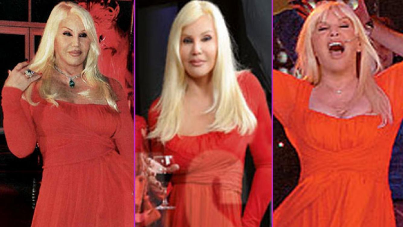 Susana Giménez y su vestido de Donna Karan (Fotos: revista Caras y Web)