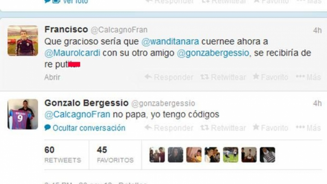 Bergessio sentó posición. Icardi, teléfono... (Captura: Twitter)