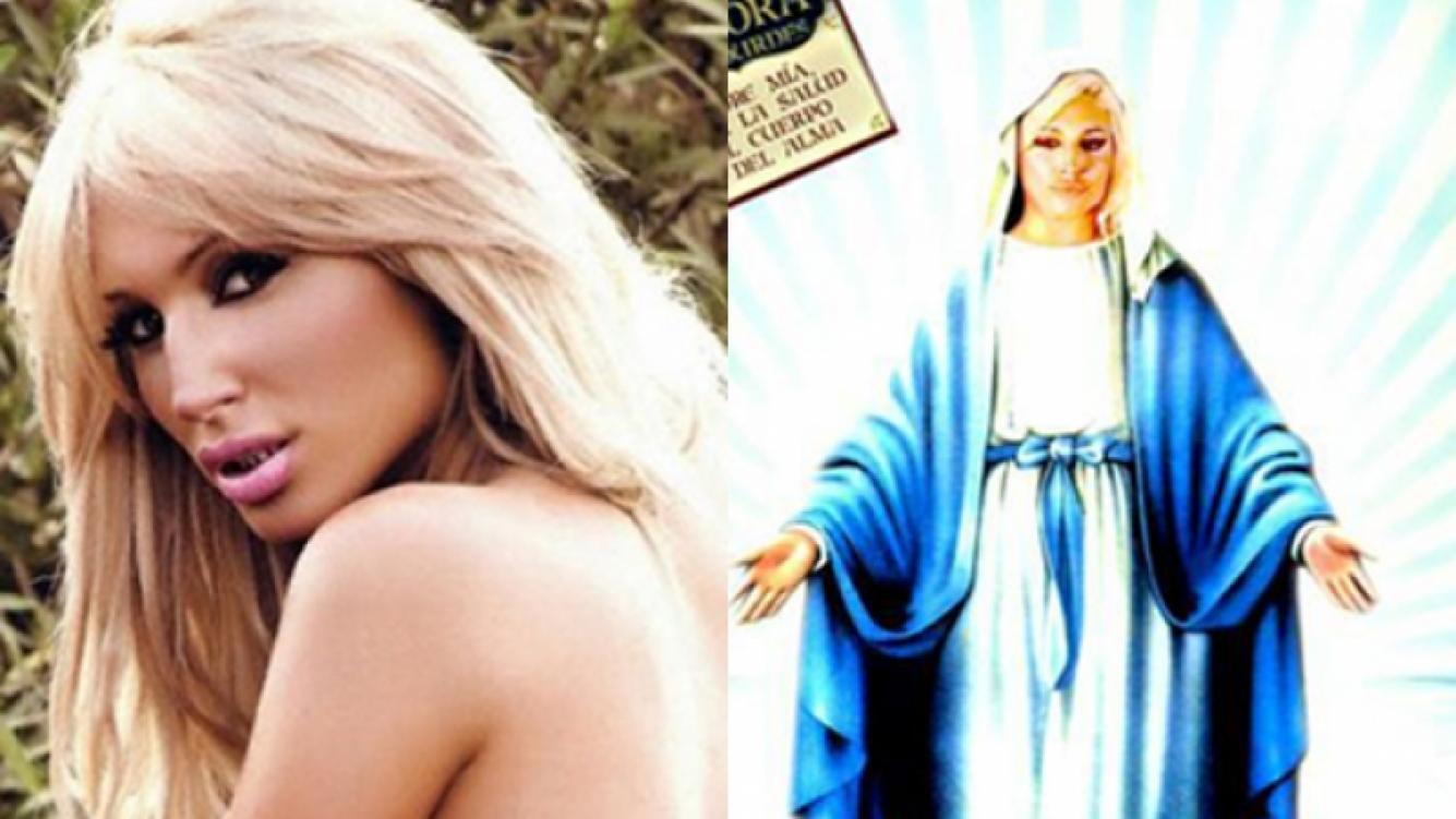 Vicky Xipolitakis como la Virgen de Lourdes. (Fotos: Web y Twitter)