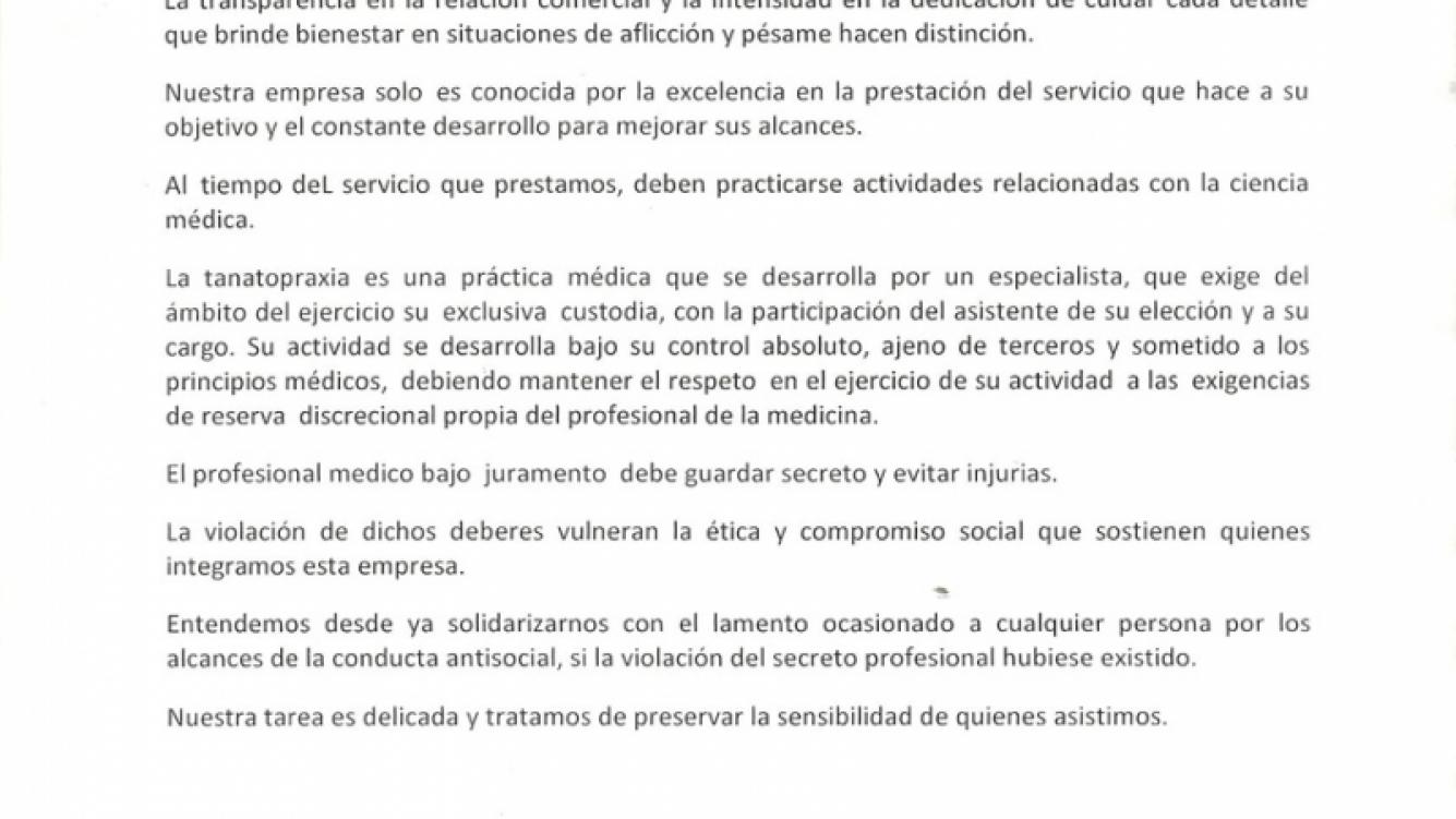 El comunicado de Córdoba Velatorios.