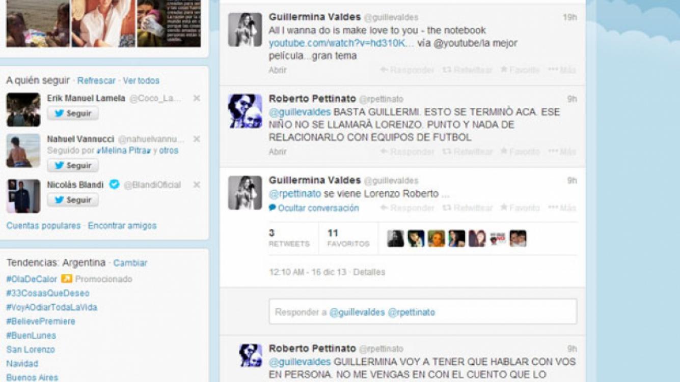Roberto Pettinato y Guillermina Valdés: divertido cruce twittero (Foto: Captura).
