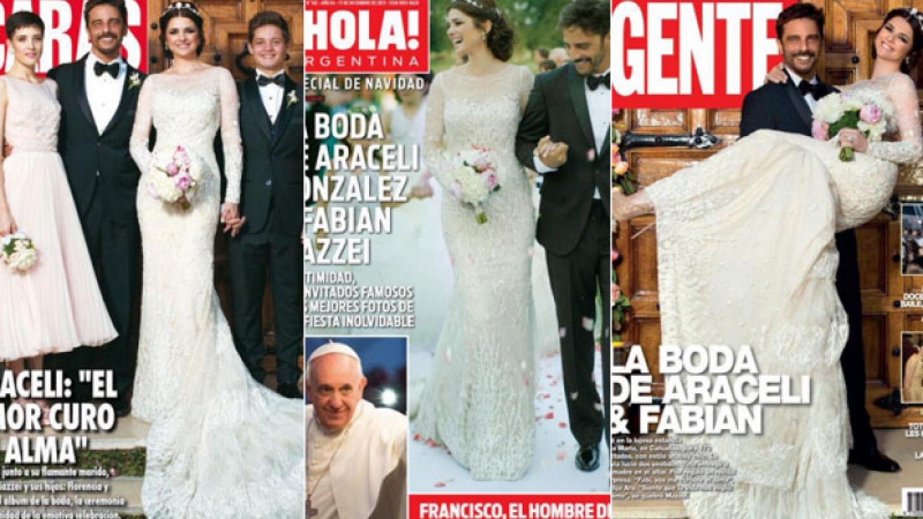 La intimidad de la millonaria boda de Araceli González y Fabián Mazzei en las tapas de las revistas (Foto: Twitter)