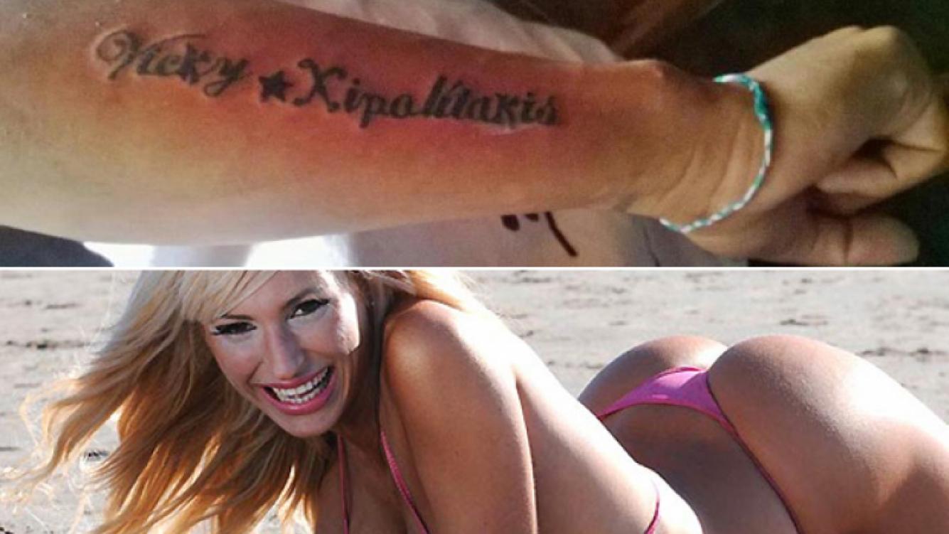 El tatuaje del fan de Vicky Xipolitakis. (Foto: Twitter @marianabrey)