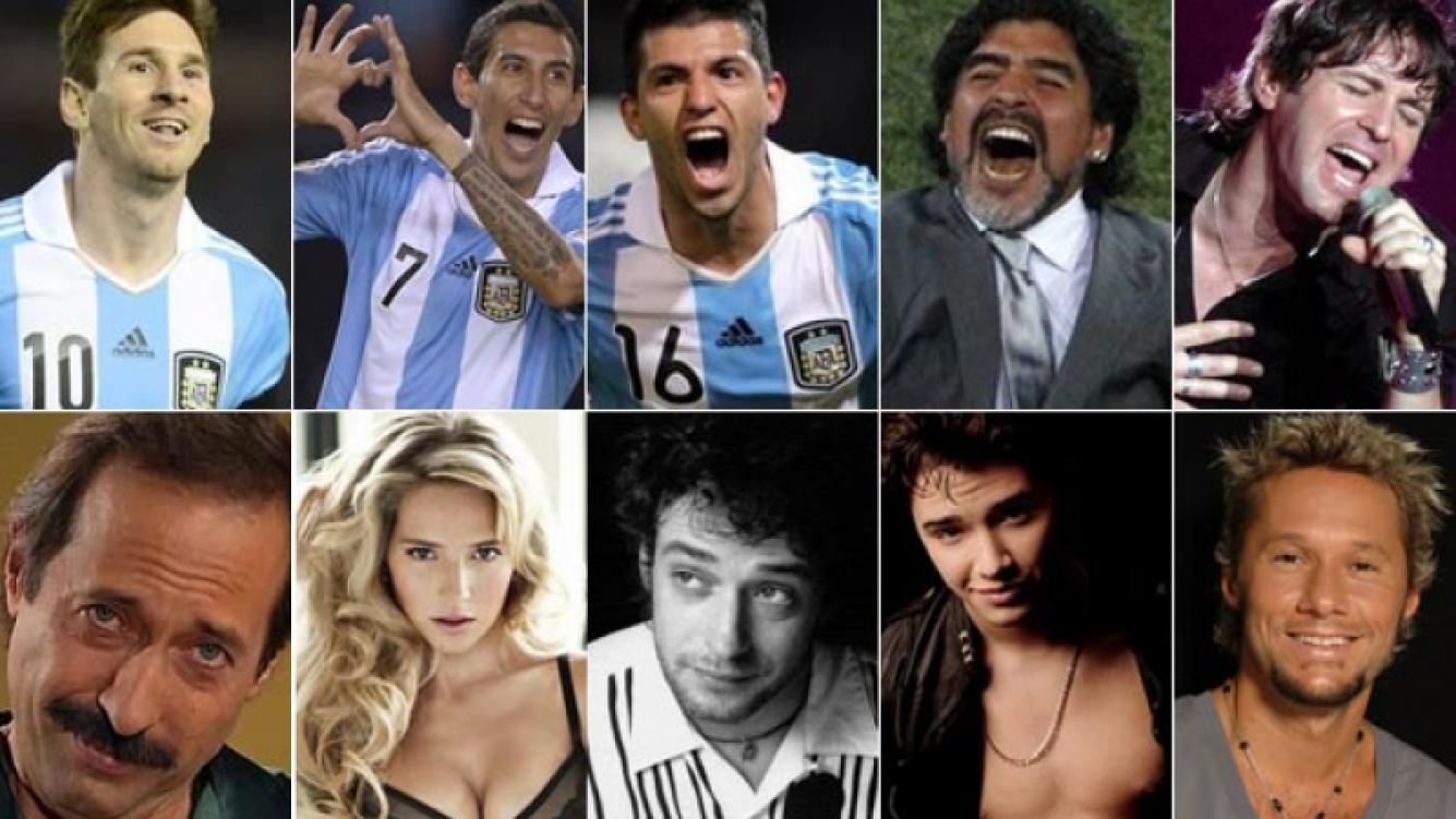ARR: Messi, Di María, Agüero, Maradona y Axel. ABA: Francella, Lopilato, Cerati, Julián Serrano y Diego Torres. (Fotos: Web)