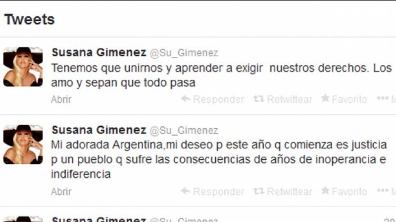 Susana Giménez y sus duros tweets de fin de año. (Captura: @Su_Gimenez)