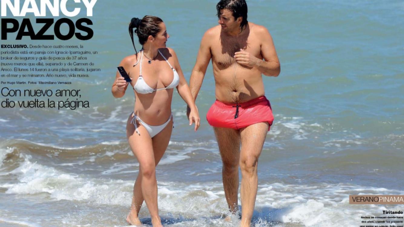 Nancy Pazos y su nuevo novio, Ignacio Iparraguirre en Pinamar. (Foto: revista Gente)