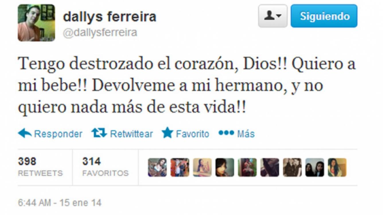 El desesperado tweet de Dallys Ferreira.