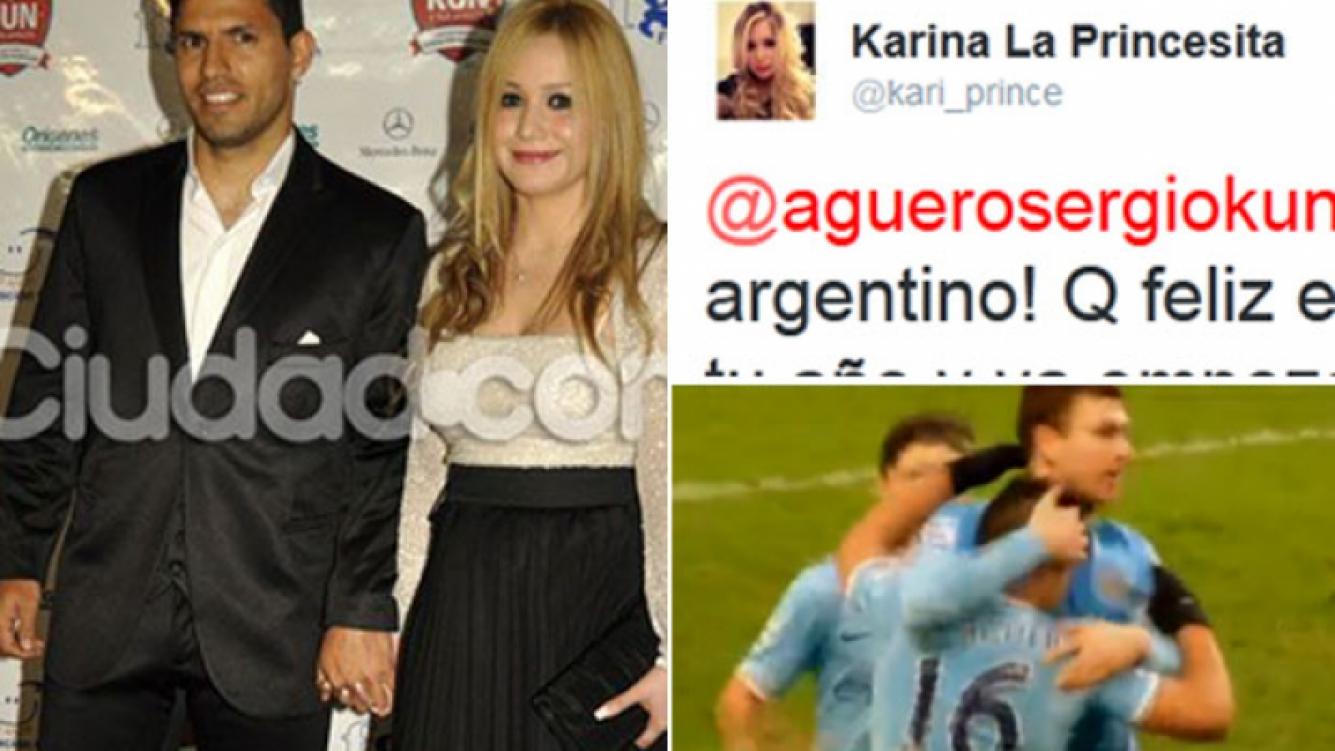 El tierno mensaje de Karina para el Kun por sus tres goles. (Fotos: Ciudad.com, Twitter y Captura TV)