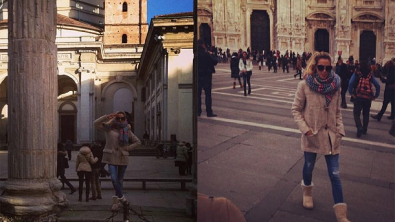 Chechu Bonelli y Darío Cvitanich, vacaciones familiares en Milán (Foto: Twitter).
