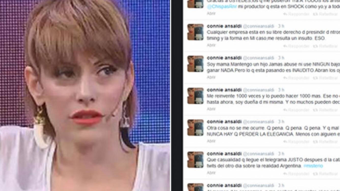 La furiosa catarata de tweets de Connie Ansaldi tras ser despedida de FM Mega. (Fotos: Captura TV y Twitter)