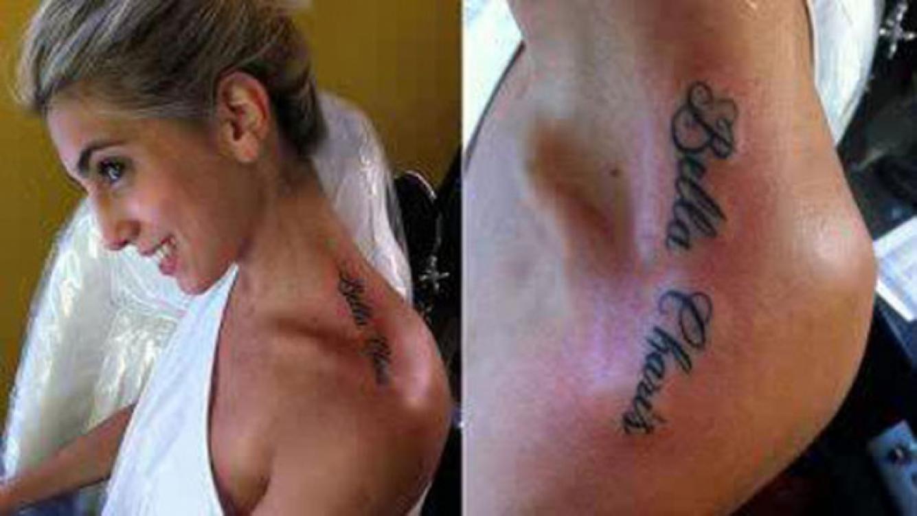 Cinthia Fernández se tatuó el nombre de sus mellizas. (Foto: Twitter)