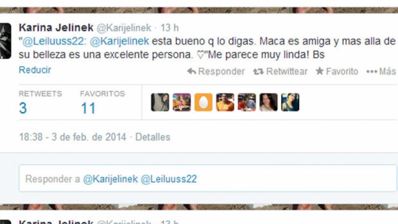 Karina defendió públicamente a Macarena desde su Twitter (Fotos: Web).