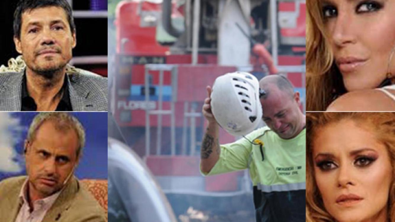 Los famosos reaccionaron en Twitter tras la tragedia de Barracas. (Fotos: TN.com.ar y Web)
