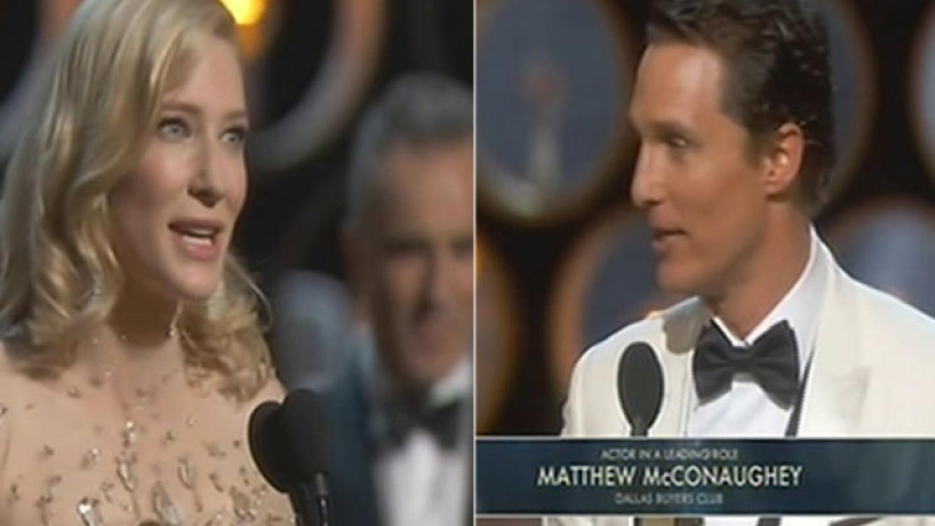 Cate Blanchett y Matthew McConaughey ganaron como Mejores Actores Protagónicos. (Foto: captura)