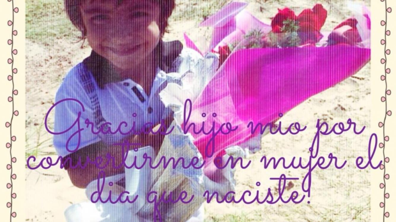 Benjamín, con las rosas que Diego Maradona le envió a Gianinna por el Día de la Mujer. (Foto: @gianmaradona)