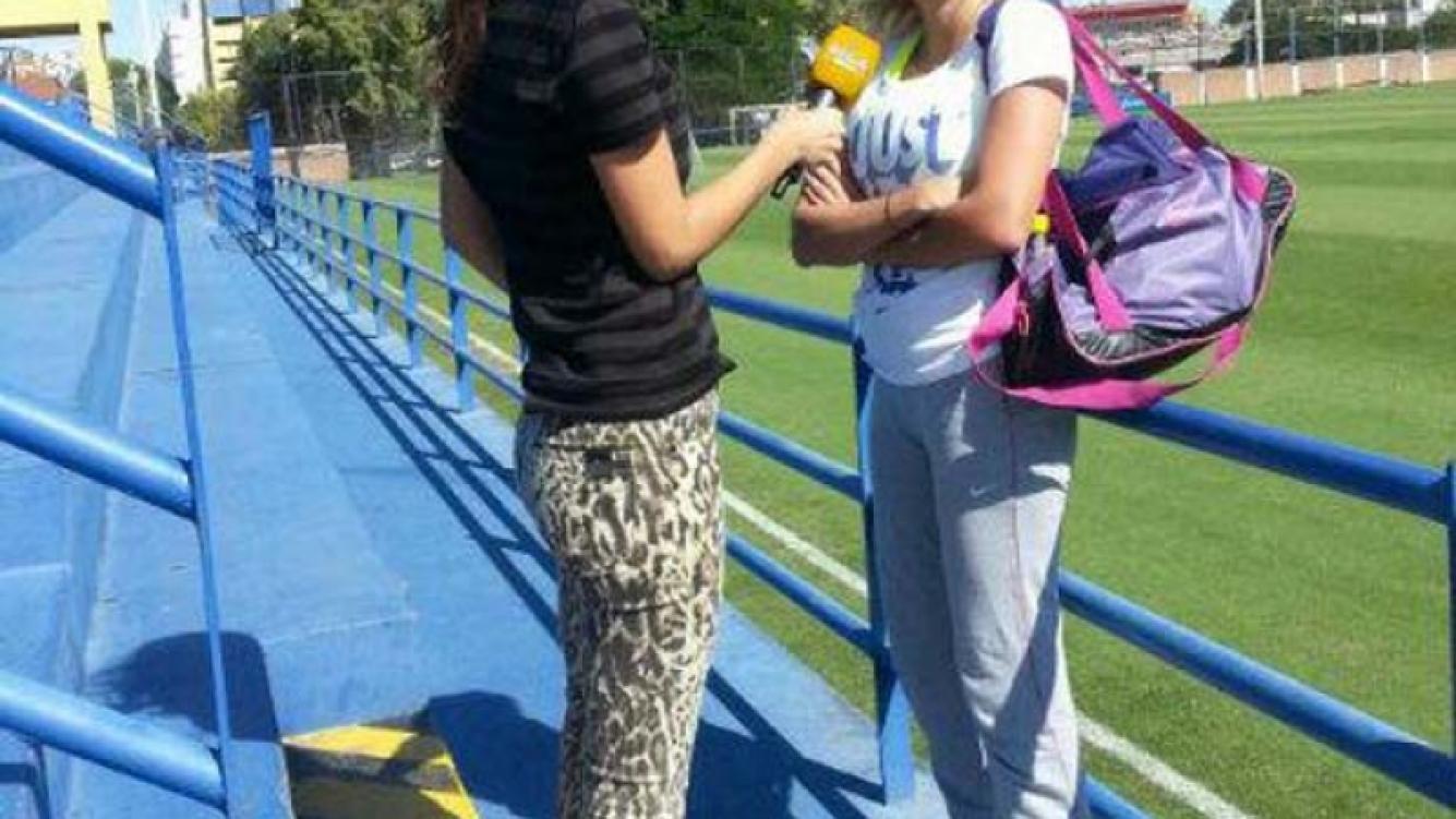Rocío Oliva, presente en la prueba de jugadoras de Boca. (Foto: @CeciliaFranco)