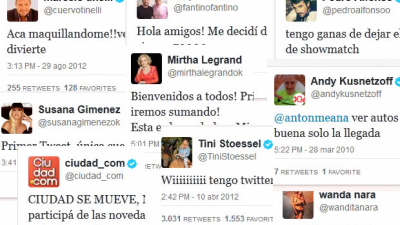 Los primeros tweets de los famosos. (Fotos: Twitter)