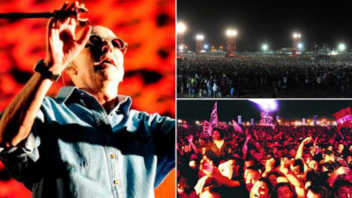 El Indio Solari y su histórico show ante más de 170 mil personas en Gualeguaychú. (Fotos: Clarín y C5N)