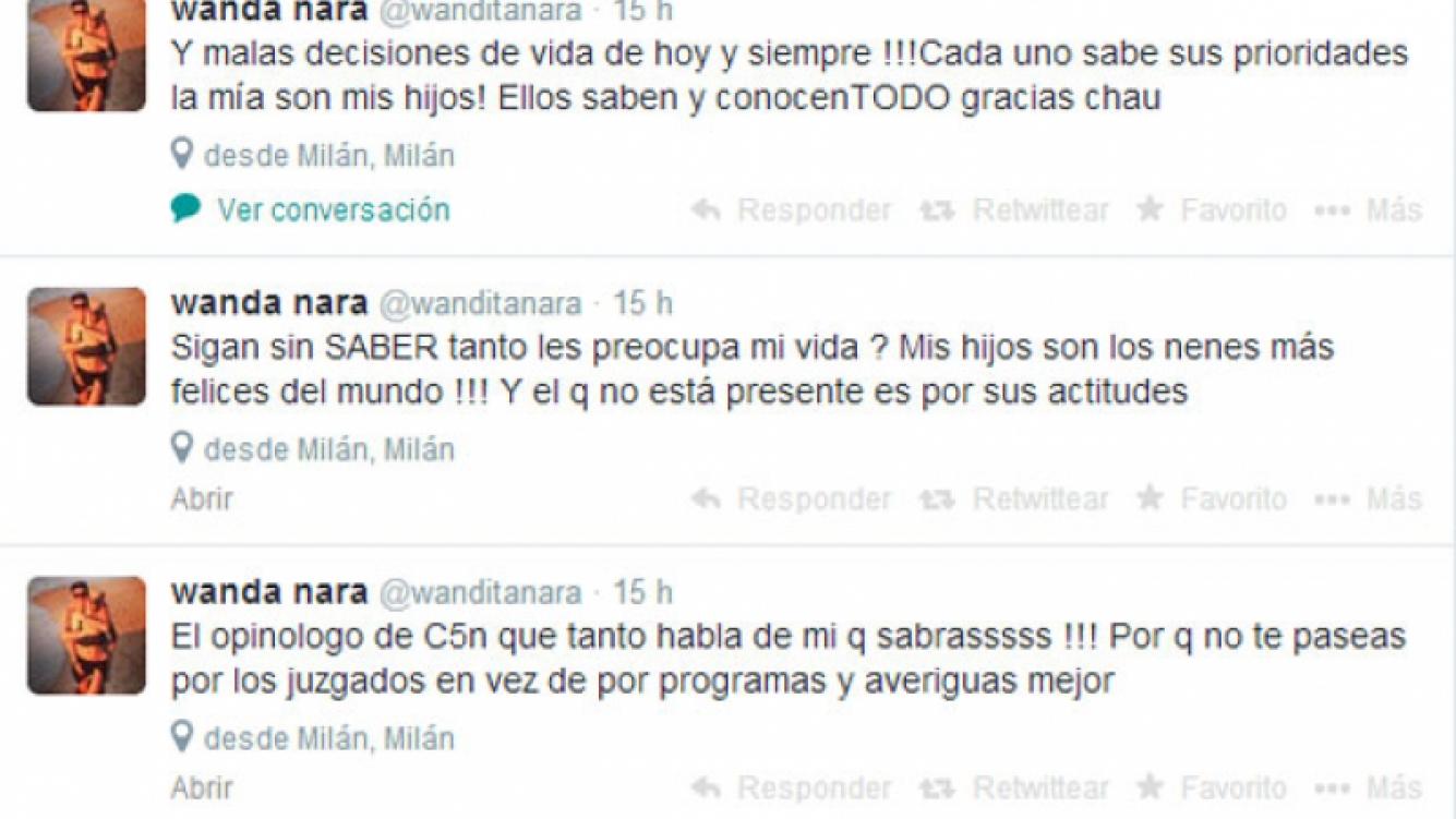 Los furiosos tweets de Wanda Nara por las críticas a Mauro (Fotos: Captura).
