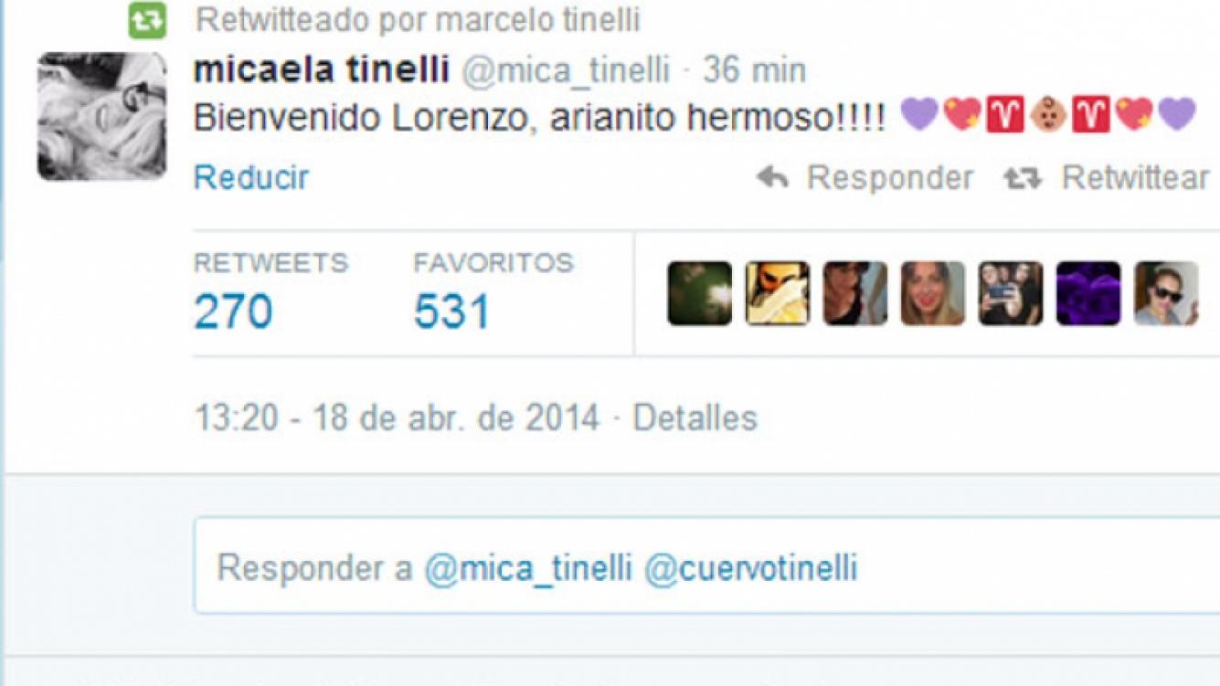 Micaela y un tierno mensaje por el nacimiento de Lorenzo (Foto: Captura).