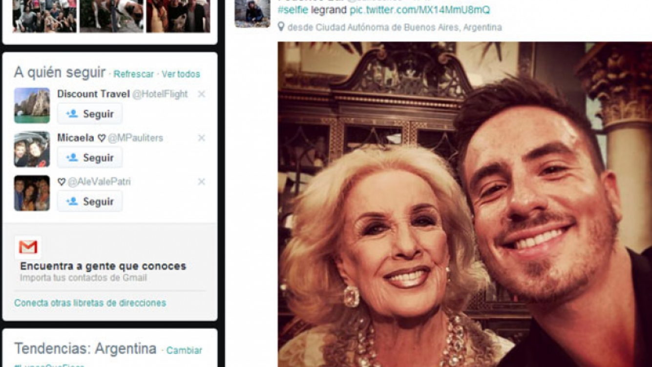 Mirtha Legrand posó divertida junto a Fede Bal (Foto: Twitter).