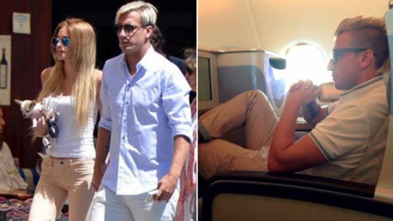 Maxi López está con su flamante novia en Miami. Ayer el escándalo lo agarró en pleno vuelo. (Fotos: La Gazzetta dello Sport y Twitter)