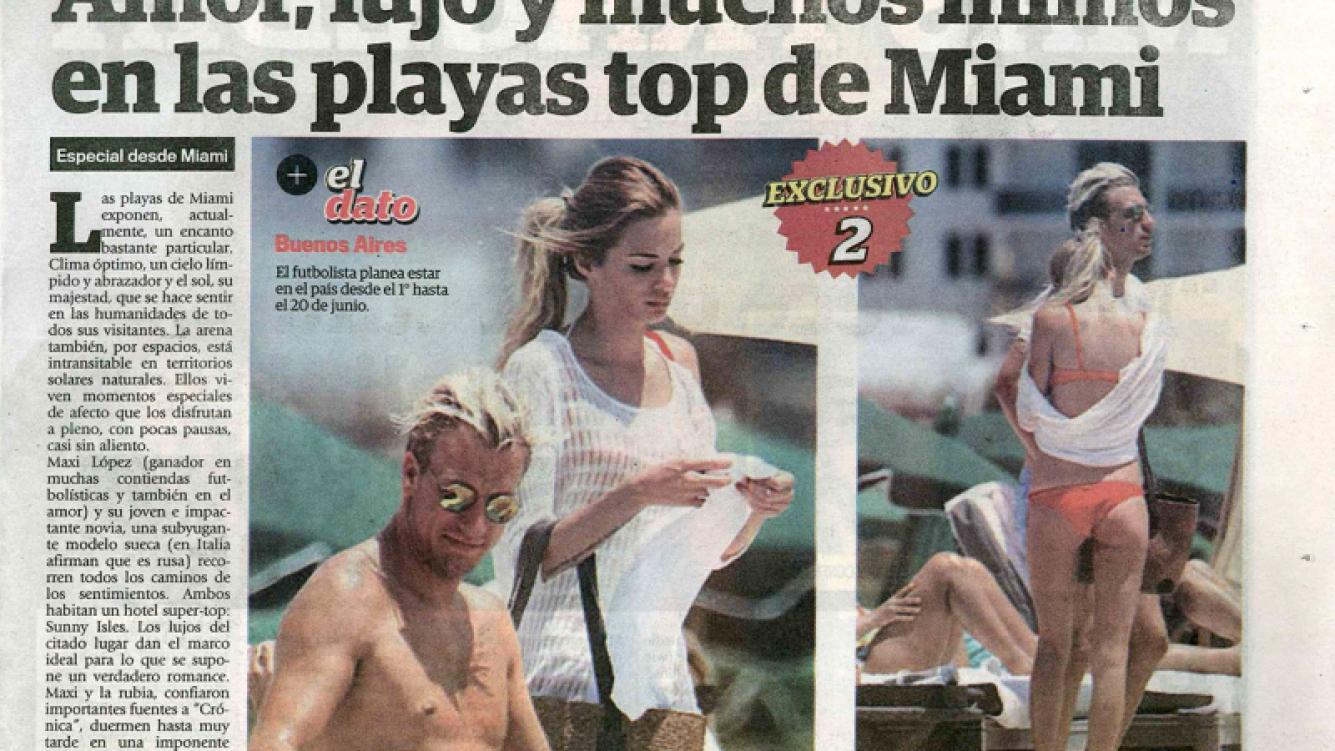 Maxi López y su novia sueca, apasionados en las playas de Miami (Captura: diario Crónica)
