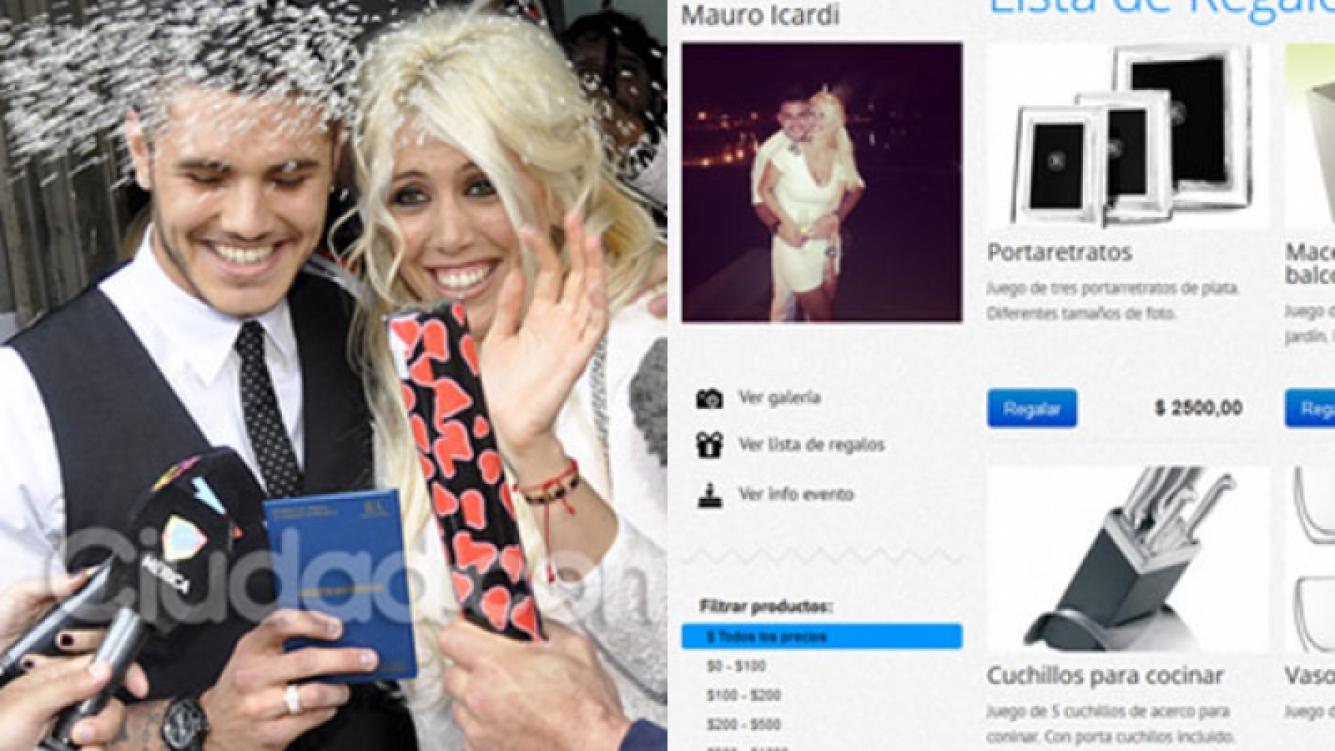La lista de casamiento de Wanda Nara y Mauro Icardi. (Fotos: Ciudad.com y alistate.com.ar)